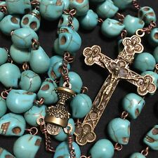 Catholic Vintage Lager 10MM Turquoise skull beads Rosary Cross crucifix Necklace