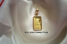 NEW .9999 GOLD 1 GRAM CREDIT SUISSE STATUE OF LIBERTY BAR  14-KT GOLD PENDANT