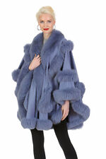 Womens Cashmere Fur Cape Real Fox Trim - Lavender - Empress Style