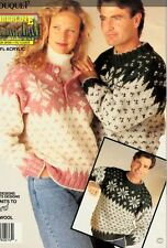 Knitting Pattern Ladies & Mens FairIsle Winter Christmas Jumpers Snowflake