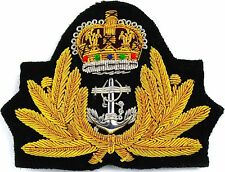 UK ROYAL NAVY OFFICER HAT CAP CAPT.ADMIRAL Bullion Badge KING CROWN