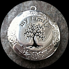 "MY FAMILY TREE of LIFE silver photo LOCKET on 18"" sterling chain necklace"