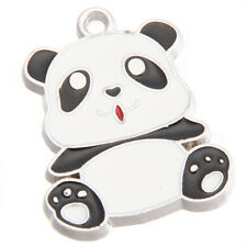 10x Black White Enamel Alloy Panda Animal Jewelry Charms Pendant For Necklace BS
