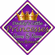 Personalised Child/Baby On Board Car Sign ~ Daddys Little Princesses ~ Purple