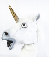 Full Head Latex White Unicorn Mask Fancy Dress Horse Fantasy Mythology Cosplay