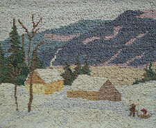 GRENFELL (Style) - Hooked Picture/Tapestry - Framed - Canada - Mid 20th Century