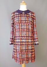 Ted Baker Orillia dress tunic wool collar tartan tweed print Size 1 UK 8
