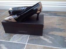 Caravela Talla 6 Negro Patente Cuero Zapatos/Piel De Serpiente