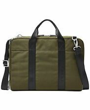 NWT Fossil Mens Mercer Green Nylon Work Briefcase Messenger Bag