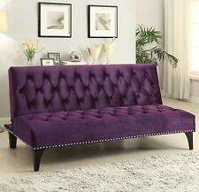 Coaster 500235 Purple Velvet Upholstery Sofa Bed With Diamond Tufting