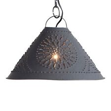 Punched Tin Hitchcock Shade Light in Black | Kitchen Island Tin Pendant Light