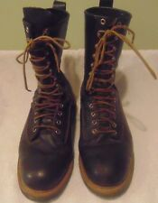 Men's Black Leather Loggers/Lineman/Bikers Occupational Work Boots Size 11