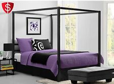 Metal Canopy Bed Frame Queen Size With HeadBoard Platform Modern Bedroom Iron