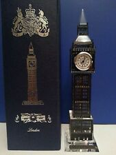 METALLIC CRYSTAL BLACK LONDON BIG BEN CLOCK WITH CHANGING LIGHTS SOUVENIR GIFT