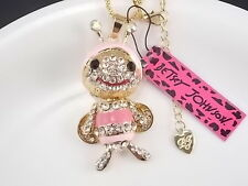 Betsey Johnson fashion jewelry inlaid Rhinestones pink bee pendant necklace