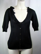 Prada Front Button Down Ruffle 100% Silk Blouse Black Size ITL 42 US 8