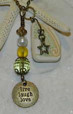 LOVELY SEA GLASS/POTTERY NECKLACE! SURF TUMBLED! GREECE! LIVE, LAUGH, LOVE!
