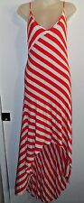 bebe L Maxi High Low Dress Striped Pink Red White Sexy Casual Chic Party Spring