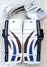 "Powertek Barikad leg pads/blocker/glove blue/purple 26"" Jr ice hockey goalie New"