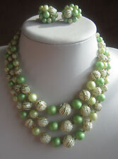 Vintage JAPAN SAGE GREEN SUGAR BEAD NECKLACE & CLUSTER EARRING SET Faux Pearl