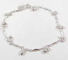 """Vintage Sterling Silver LOVE, Hearts Charmed Chain Anklet 10"""" (7.5g)- 433276bbb"""