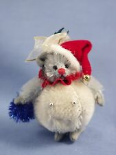 "DEB CANHAM ""SNOWBALL MOUSE"" MINIATURE MOHAIR MOUSE IN DRESSED AS A SNOWBALL"
