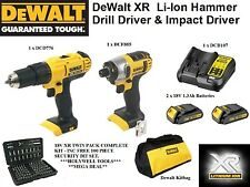 DEWALT 18V TWIN PACK  XR LI-ION INCLUDING DEWALT BAG & 100 PIECE BIT SET