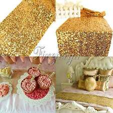 "Gold Sequin Table Runner 12""x108""  Sparkly Wedding Party Bling Table Decor"