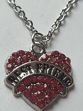 PINK BEST FRIEND FAMILY GIFT CRYSTAL LOVE HEART PENDANT RHINESTONE NECKLACE