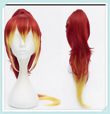 Ao No Exorcist Shura Kirigakure Red Gradient Yellow Ponytail Cosplay Wigs