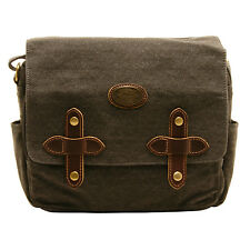 TROOP LONDON - BLACK MESSENGER BAG WITH PADDED TABLET POUCH IN CANVAS-LEATHER