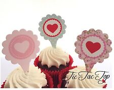 12x Heart Love CUPCAKE TOPPERS Party Jelly Cup Food Picks Valentine Day Wedding