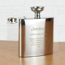Personalized, Engraved Stainless Steel 6oz Hip Flask,Best Man Usher - BOLD TEXT