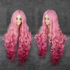 New Fashion Womens Pink Lolita Curly Wavy Long Cosplay Party Full Hair Wig/WIGS