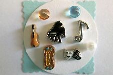 MUSIC & Theater Floating Charms Set: Note Piano Violin Drama Sign Masks Gems