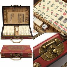 Portable Retro Mahjong Box Rare Chinese 144 Tiles Mah-Jong Set In Leather Box