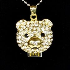 USB Stick 8 GB Pendant Bear Rhinestone Jewellery Little Teddy Head gold Coloured