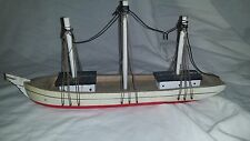 Vintage Wooden Toy Sail Boat GRAY RED WHITE FREE SHIPPING