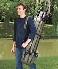 Deluxe FISHING Rod Reel CARRYING CASE Back Travel Bag Tackle Storage Organizer