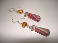 AB Rainbow Calsilica Calcite Yellow Citrine Dangle .925 Silver Earrings 2.25""