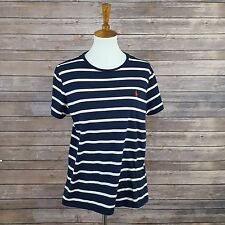 Ralph Lauren Sport Womens XL Navy Blue White Striped Pink Pony S/S Knit Top