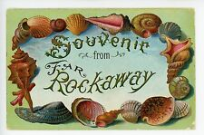 Souvenir from Far Rockaway SHELL BORDER Antique Embossed PC ca. 1907