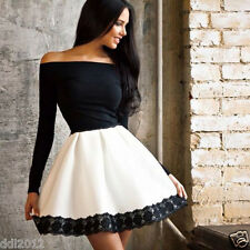 Women One Shoulder Skirt Dress Lace Skater Ladies Party Evening Mini Dresses New