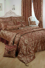 DOUBLE BED BEDSPREAD DAMASK RAAJH GOLD BURGUNDY JACQUARD