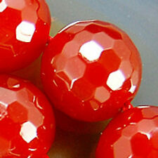 12mm Faceted Red Agate Round Beads 16pcs