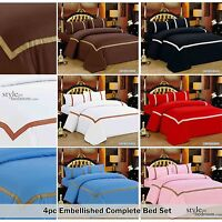 4pc Embellished trim COMPLETE Duvet Quilt Cover Bedding Set & Free Fitted Sheet