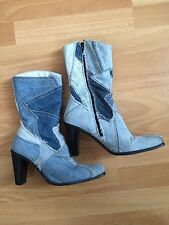 Used blue denim patchwork heeled ankle boots by Shellys size 39 / 6