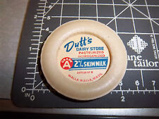 Milk Bottle Cap from Duffs Dairy Store, Walla Walla Washington, 2% skim milk