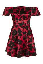BNWT TOPSHOP RED FLORAL SATIN FRILL DRESS SIZE 12