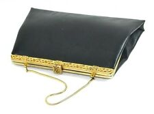VINTAGE  BLACK AFTER 5  LEATHER SMALL EVENING BAG BAGUETTE CLUTCH HANDBAG